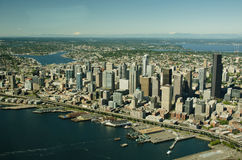 Downtown Seattle and I-5 Aerial. Aerial view of metropolitan area and bay Stock Image