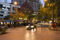 Downtown Seattle at night Stock Images