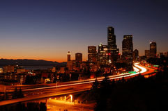 downtown seattle at night stock image
