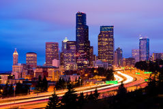 Downtown Seattle at night Stock Photo