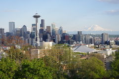 Downtown Seattle seen from Queen Anne hill. Downtown Seattle seen from the north with Space Needle and Mount Rainer Royalty Free Stock Photos