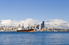 Downtown Seattle Skyline. City skyline from the water in Seattle, Washington state, America. View from Elliot bay Royalty Free Stock Photos