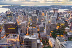 Downtown Seattle Skyline at Dusk Stock Photography