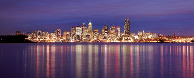 Downtown Seattle Skyline Elliott Bay Puget Sound Office Building Royalty Free Stock Image