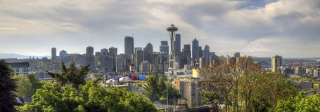 Downtown Seattle Skyline with Mount Rainier Royalty Free Stock Photography