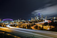 Downtown Seattle skyline at night Stock Photography