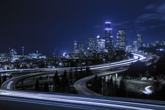 Downtown Seattle skyline at night Royalty Free Stock Photography