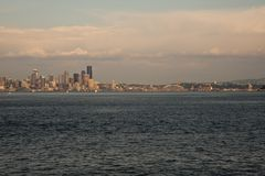 Dowtown Seattle skyline. Downtown Seattle skyline seen from ferry Royalty Free Stock Photo