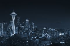 Downtown Seattle skyline with view of Mt. Rainier Stock Image