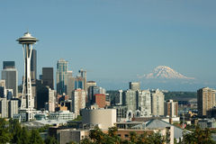 Downtown Seattle Space Needle and Mt. Rainier Stock Photos