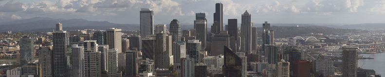 Downtown Seattle. Taken from the Space-needle. This panorama of downtown was taken on a beautiful clear day on November 3, 2013. The day the Seahawks beat the Royalty Free Stock Photos