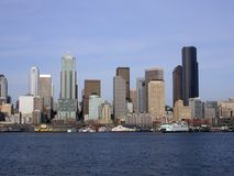 Downtown Seattle, Washington. Skyline seen from Puget Sound Stock Photos