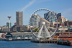 Downtown Seattle Waterfront and the Great Wheel stock photos
