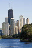 Downtown seen from Lincoln Park. Downtown Chicago seen from Lincoln Park stock photo