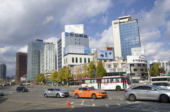 Downtown seoul traffics office buildings Royalty Free Stock Images