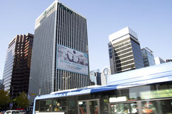 Downtown seoul traffics office buildings stock images