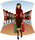 Downtown Shopping. Shopping downtown with bags in hand - Fall colors and Holiday colored bags Royalty Free Illustration