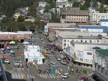 Downtown Shopping District (2), Ketchikan, Alaska. In addition to tours by plane and helicopter over glaciers and mountains of Alaska, Ketchikan with its shops Royalty Free Stock Photography