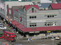 Downtown Shopping District, Ketchikan, Alaska. Plane and helicopter tours over glaciers and mountains of Alaska are popular with tourists Stock Photography