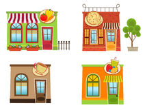 Downtown Shops. Set of four colorful downtown shops. Eps10 royalty free illustration