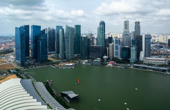 Downtown in Singapore and harbor. Skyscrapers in the center of Singapore and the harbor Stock Photos