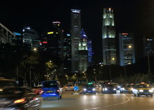 Downtown Singapore by night Stock Image