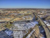 Downtown Sioux Falls Skyline in South Dakota During Winter. Downtown Sioux Falls, South Dakota during Winter via Drone Stock Photos