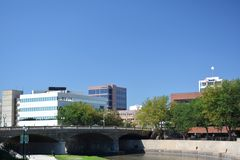 Downtown Sioux Falls South Dakota. View of the skyline of downtown Sioux Falls South Dakota Royalty Free Stock Image