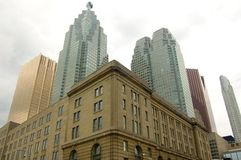 Downtown skyline. Toronto downtown sky line. Old fashioned building against modern ones stock photo