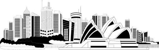 Downtown skyline. Black and white illustration of a cityscape Stock Image