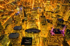 Downtown skyline of Chicago from top view in USA. At night stock photos