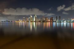 Downtown Skyline at the Embarcadero, San Diego. San Diego, California, USA downtown skyline at the Embarcadero at night royalty free stock image