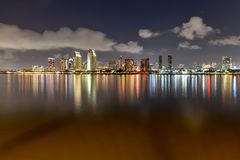 Downtown Skyline at the Embarcadero, San Diego. San Diego, California, USA downtown skyline at the Embarcadero at night stock image