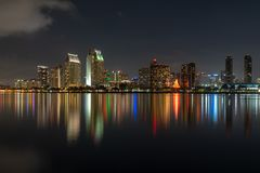 Downtown Skyline at the Embarcadero, San Diego. San Diego, California, USA downtown skyline at the Embarcadero at night royalty free stock images