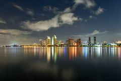 Downtown Skyline at the Embarcadero, San Diego. San Diego, California, USA downtown skyline at the Embarcadero at night stock photo