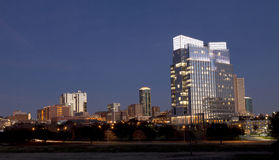 Downtown skyline of Ft Worth, Texas. Just after sunsetn stock photos
