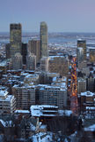 Downtown skyline montreal at dusk royalty free stock images