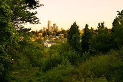 Downtown skyline and Mount Baker neighborhood. Rainier Valley District, Seattle, Washington State, USA Royalty Free Stock Image