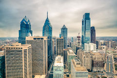Downtown skyline of Philadelphia USA. Top view of downtown skyline Philadelphia USA Stock Photo