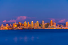 Downtown Skyline. San Diego skyline as seen from Harbor Island just after sunset stock photography