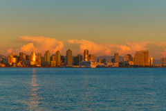 Downtown Skyline #2. San Diego skyline as seen from Harbor Island just after sunset stock image