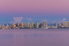 Downtown Skyline #4. San Diego skyline as seen from Harbor Island just after sunset royalty free stock photo