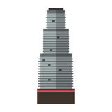 Downtown skyscraper with skyline reflections on shiny glass facades modern flat style vector illustration. Construction abstract street cityscape exterior Stock Image