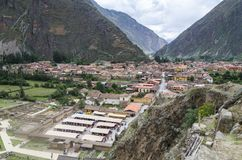 Downtown of the small medieval city of Ollantaytambo stock photos