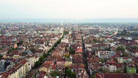 Downtown Sofia Bulgaria with amazing red roofs. Aerial view of downtown Sofia Bulgaria with amazing red roofs stock video