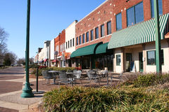 Downtown Square. Interesting and diversifed downtown shops and restaurants Royalty Free Stock Photos