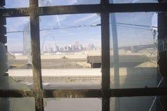Downtown St. Louis through broken glass, Missouri Stock Image