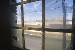 Downtown St. Louis through broken glass, Missouri Stock Photography