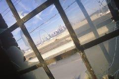 Downtown St. Louis through broken glass, Missouri Royalty Free Stock Photography