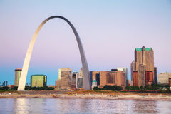 Downtown St Louis, MO with the Old Courthouse and the Gateway Ar Royalty Free Stock Image